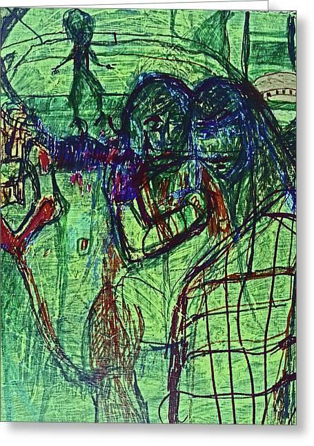 Alien Dance Greeting Card by Judith Redman