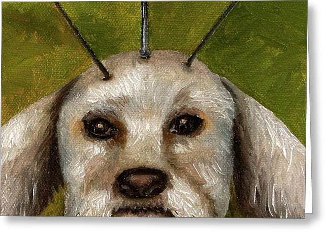 Alien Dog Greeting Card by Leah Saulnier The Painting Maniac