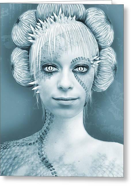 Photomanip Greeting Cards - Alien Greeting Card by Dominika Aniola