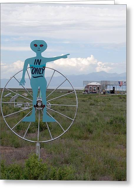 Ufo Greeting Cards - Alien In Only 1 Greeting Card by Joseph R Luciano