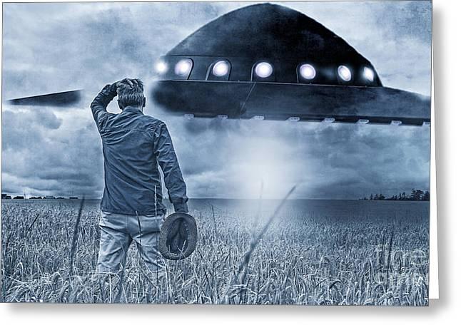 Alien Invasion Cyberpunk Version Greeting Card by Edward Fielding