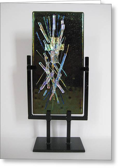 Dichroic Glass Greeting Cards - Alien Light Greeting Card by Mark Lubich