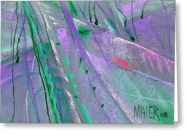 Purple Abstract Greeting Cards - Alien Memories 2 purple Greeting Card by Donald Maier