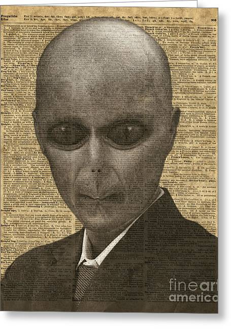 Outsider Digital Greeting Cards - Alien over Dictionary Page Greeting Card by Jacob Kuch