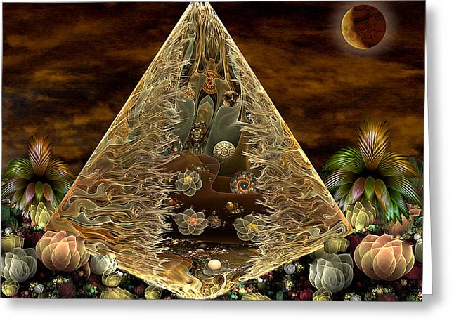 Abstract Digital Greeting Cards - Alien Pyramid Greeting Card by Peggi Wolfe