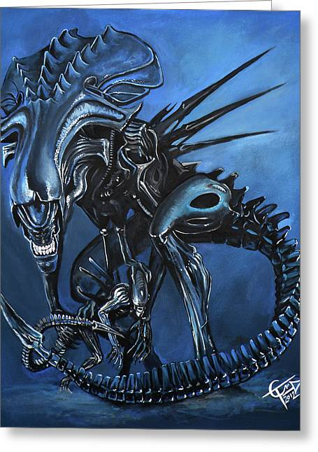 Alien Paintings Greeting Cards - Alien Queen Greeting Card by Tom Carlton