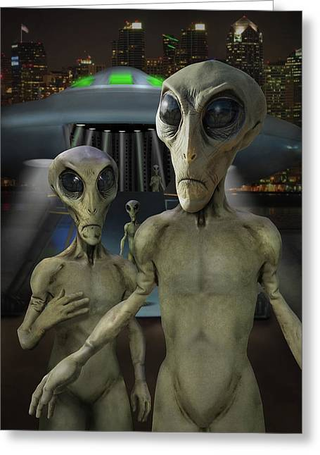 Alien Vacation - The Arrival  Greeting Card by Mike McGlothlen