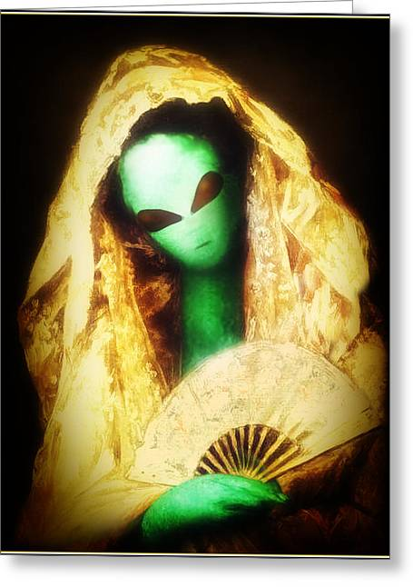 Cassatt Digital Greeting Cards - Alien Wearing Lace Mantilla Greeting Card by Gravityx9 Designs