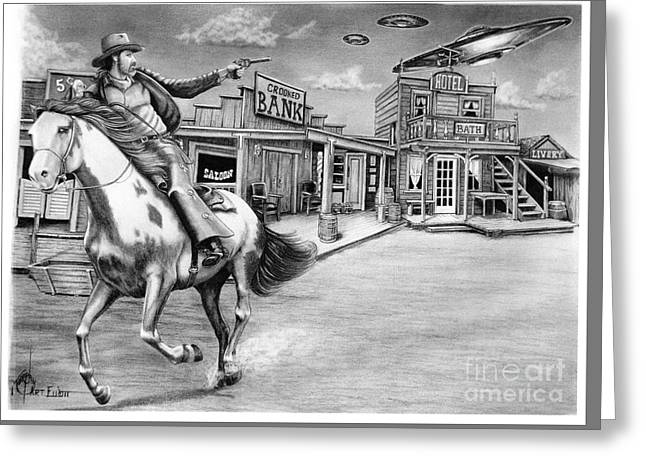 Western Pencil Drawings Greeting Cards - Aliens and Cowboys Greeting Card by Murphy Elliott