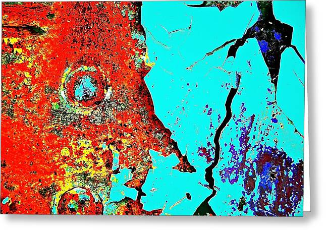 Color Enhanced Greeting Cards - Rivet Man Exposed Greeting Card by David Coleman
