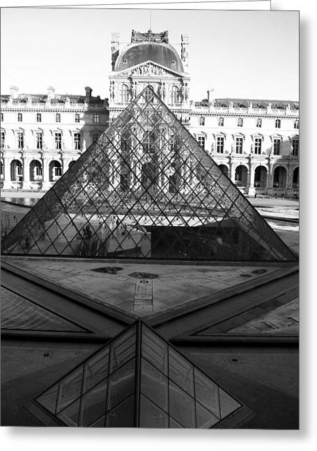 """glass Museum"" Greeting Cards - Aligned Pyramids at the Louvre Greeting Card by Donna Corless"