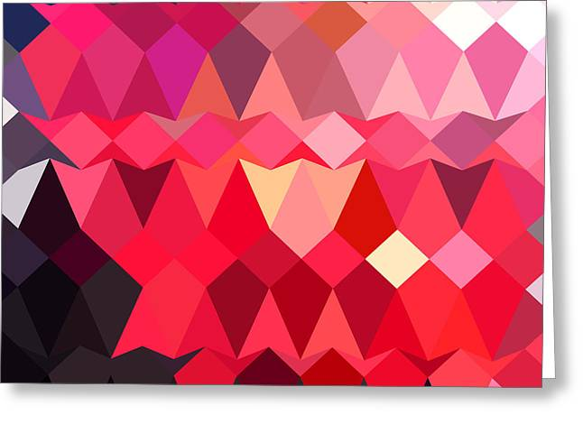 Alizarin Crimson Greeting Cards - Alizarin Crimson Abstract Low Polygon Background Greeting Card by Aloysius Patrimonio