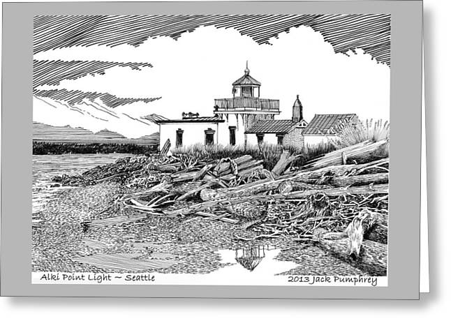 Points Drawings Greeting Cards - Alki Point Lighthouse Seattle Greeting Card by Jack Pumphrey