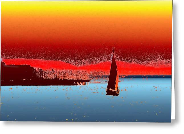 Alki Sail 3 Greeting Card by Tim Allen