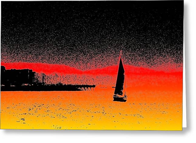 Yellow Sailboats Greeting Cards - Alki Sail  Greeting Card by Tim Allen