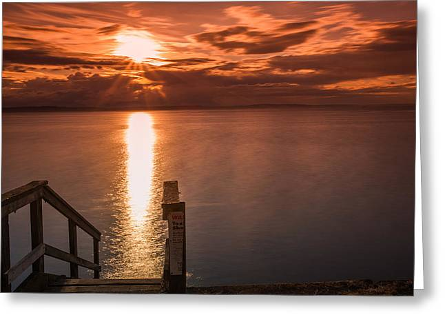 Alki Beach Greeting Cards - Alki Sunset Greeting Card by Calazones Flics