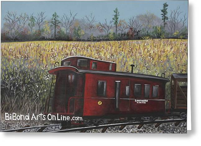 Caboose Paintings Greeting Cards - All Aboard Greeting Card by Virginia Bond