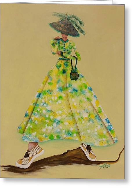 Sneaker Mixed Media Greeting Cards - All About Her Greeting Card by Yorka Ralwins