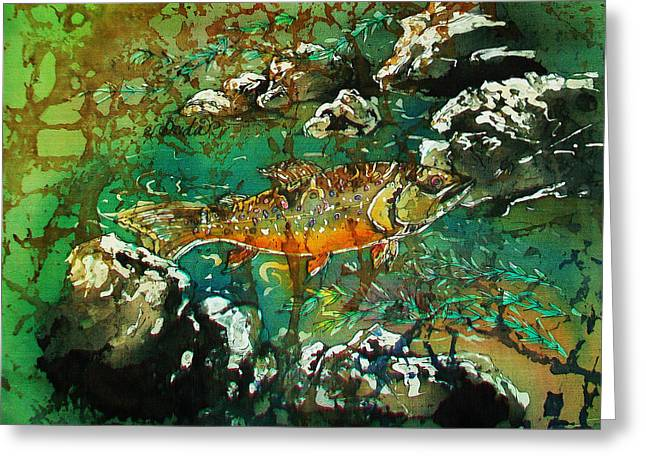 Brown Tapestries - Textiles Greeting Cards - All About Trout Greeting Card by Sue Duda