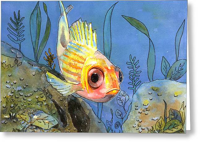 All Alone - Squirrel Fish Greeting Card by Arline Wagner