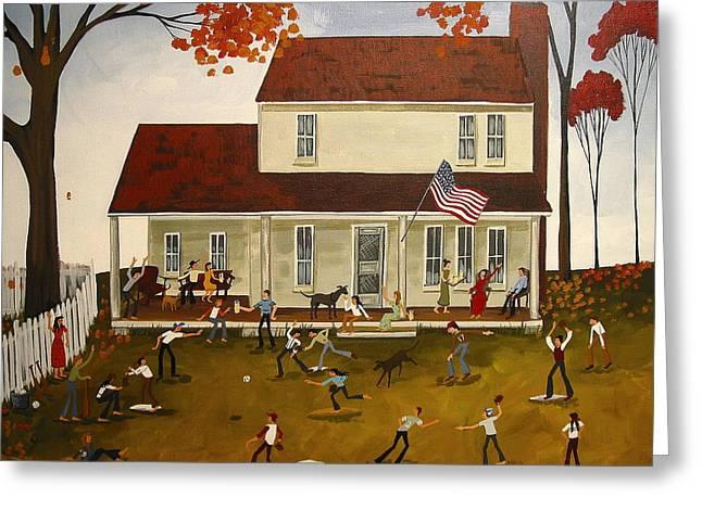 Baseball Print Paintings Greeting Cards - All American Baseball - a folkartmama original - folk art Greeting Card by Debbie Criswell