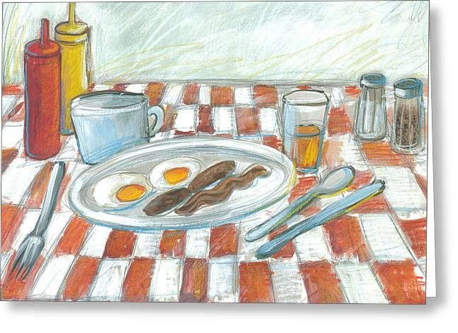 Over Easy Greeting Cards - All American Breakfast 2 Greeting Card by Gerry High