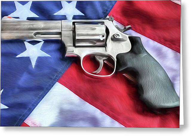 All American Firepower Greeting Card by JC Findley