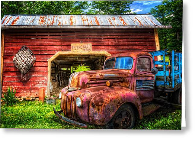 Old Barns Greeting Cards - All American Ford Greeting Card by Debra and Dave Vanderlaan