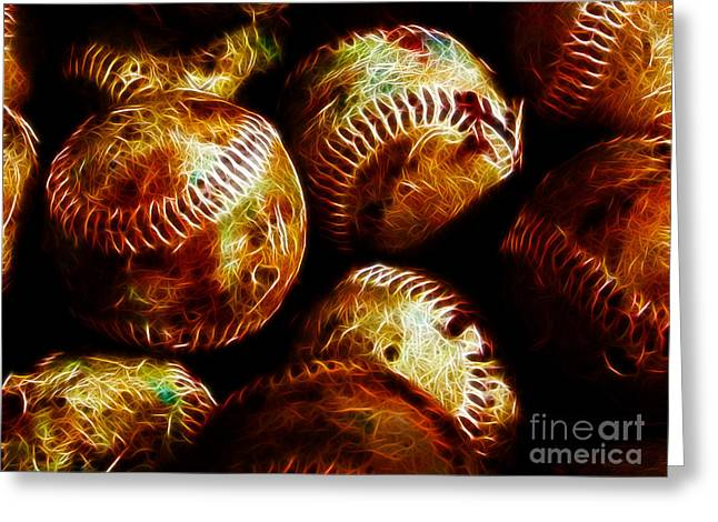Pastimes Digital Art Greeting Cards - All American Pastime - A Pile of Fastballs - Electric Art Greeting Card by Wingsdomain Art and Photography