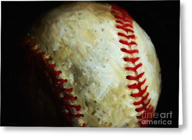 Pastimes Digital Art Greeting Cards - All American Pastime - Baseball - Painterly Greeting Card by Wingsdomain Art and Photography