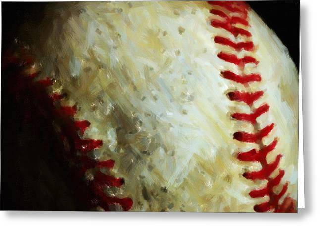 Boston Red Greeting Cards - All American Pastime - Baseball - Square - Painterly Greeting Card by Wingsdomain Art and Photography
