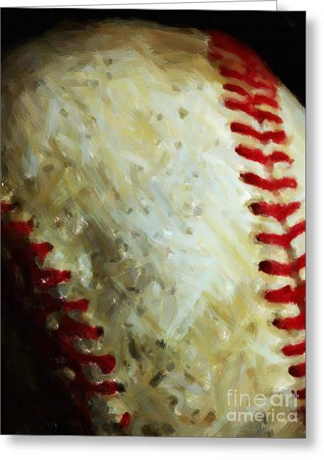 All American Pastime - Baseball - Vertical Cut - Painterly Greeting Card by Wingsdomain Art and Photography