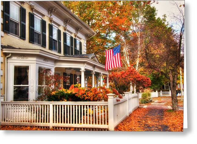 All American Street In Autumn - Woodstock, Vermont Greeting Card by Joann Vitali
