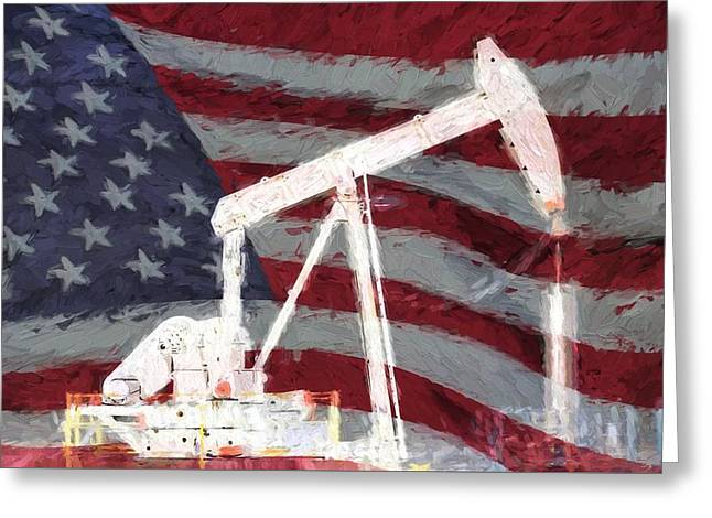 All American Oil Pump Jack Greeting Card by JC Findley