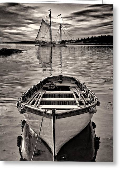 Recently Sold -  - Schooner Greeting Cards - All Ashore Greeting Card by Fred LeBlanc