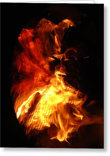 Firepit Greeting Cards - All Consuming Greeting Card by Donna Blackhall