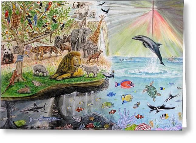 Sea Lions Mixed Media Greeting Cards - All Creatures Are The Product Of His Handiwork Greeting Card by Neal David Reilly
