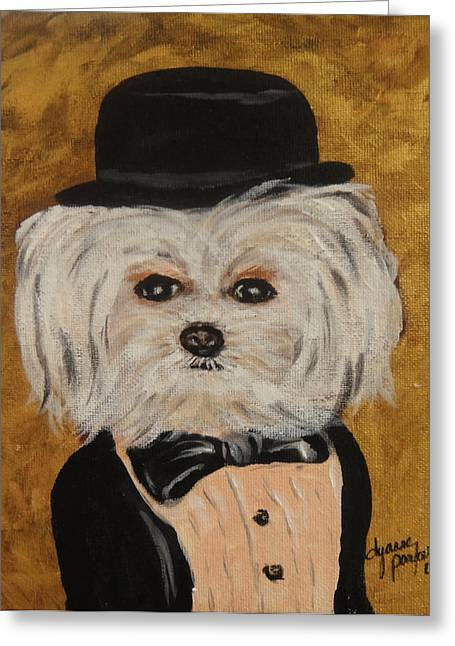 Maltese Greeting Cards - All Dressed Up and  No Where To Go Greeting Card by Dyanne Parker