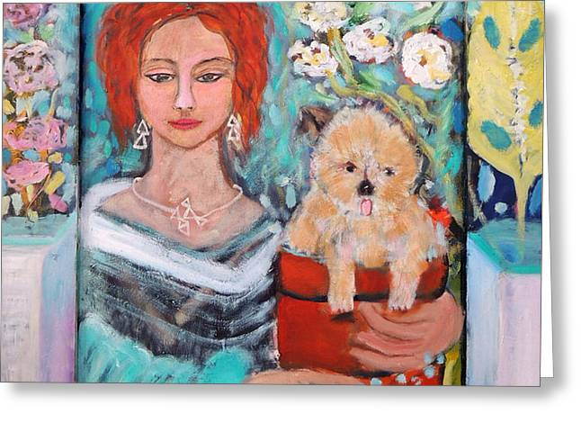 Doggies Greeting Cards - All I need is my dog and garden Greeting Card by Geraldine Liquidano