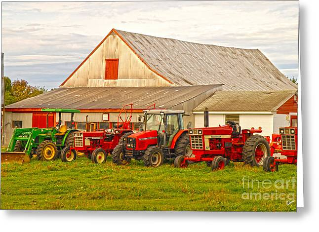 Old Maine Barns Greeting Cards - All in a Row Greeting Card by Alana Ranney