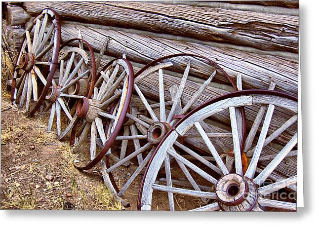 Wooden Wagons Drawings Greeting Cards - All in a Row Greeting Card by Nena Trapp
