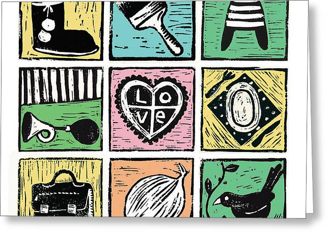 Linocut Greeting Cards - All kinds of everything Greeting Card by Joke Boudens