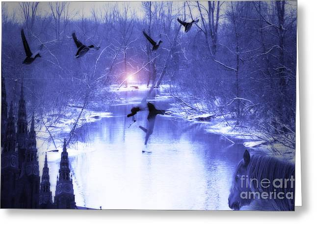 Figure Skater Greeting Cards - All My Dreams in Blue  Greeting Card by Cathy  Beharriell
