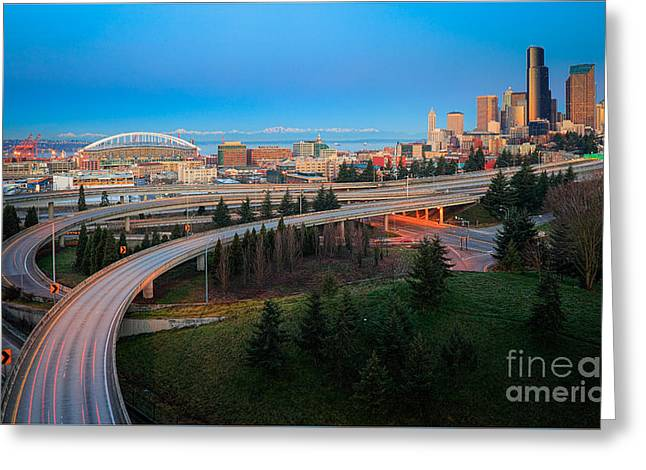 All Roads Lead To Seattle Greeting Card by Inge Johnsson