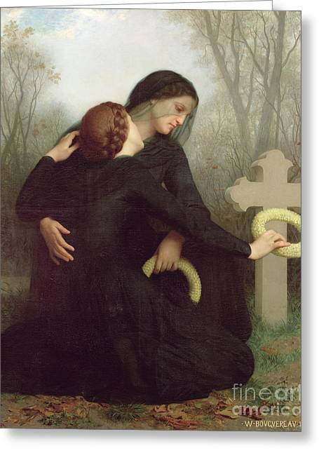 Cross On The Grave Greeting Cards - All Saints Day Greeting Card by William Adolphe Bouguereau