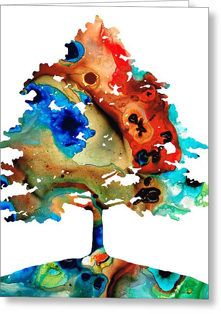 Prints Greeting Cards - All Seasons Tree 3 - Colorful Landscape Print Greeting Card by Sharon Cummings
