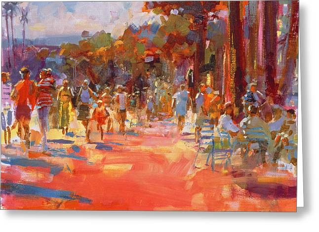 People Walking Greeting Cards - All Summer in a Day Greeting Card by Peter Graham