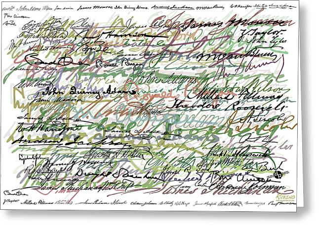 President Obama Mixed Media Greeting Cards - All The Presidents Signatures Green Sepia Greeting Card by Tony Rubino