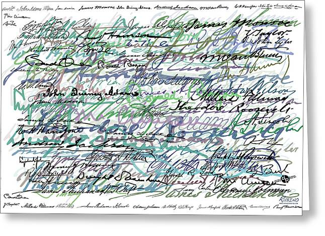 President Obama Mixed Media Greeting Cards - All The Presidents Signatures Teal Blue Greeting Card by Tony Rubino