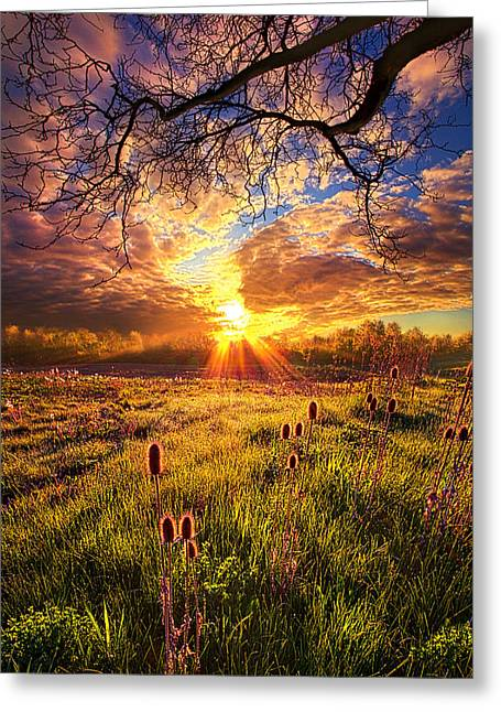 Life Line Greeting Cards - All The World Was Right Greeting Card by Phil Koch
